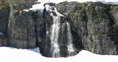 4k, norway, waterfall embedded in ice Stock Footage