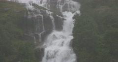 4k, norway, waterfall in rain Stock Footage