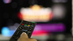 Smart tv and hand pressing remote control, close up HD - stock footage
