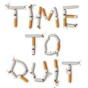 Text ''time to quit'' made from broken cigarettes Stock Photos
