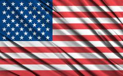 closeup of ruffled american flag - stock illustration