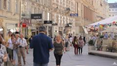The Graben street in Vienna, the old town of Vienna with people, camera movement Stock Footage