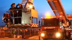 Fire engine crane truck Stock Footage