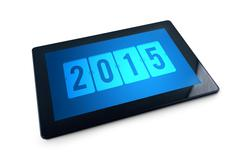 2015 on generic tablet pc display Stock Photos
