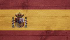spain flag on wood boards with nails - stock illustration