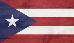 puerto rico flag on wood boards with nails - stock illustration
