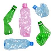 used crumpled plastic bottles isolated on white - stock photo
