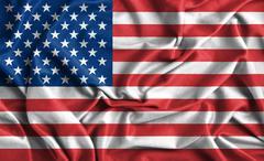 Closeup of ruffled american flag Stock Illustration