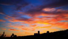 Beautiful sunset sky background over Hollywood Hills in Los Angeles. Timelapse. Stock Footage
