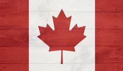 canada flag on wood boards with nails - stock illustration