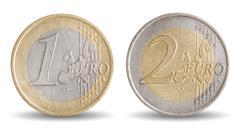 Coins of 1 and 2 euro - european union money Stock Photos