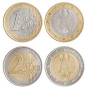 Coins of 1 and 2 euro - european union money. obverse and reverse Stock Photos