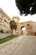the old fortress of acquaviva picena, in italy - stock photo