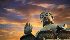Stock Video Footage of Tian Tan Buddha statue, sunset sky. Lantau Island, Hong Kong, China . Timelapse.