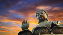 Tian Tan Buddha statue, sunset sky. Lantau Island, Hong Kong, China . Timelapse. Stock Footage