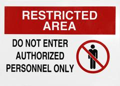Restricted area sign Stock Photos
