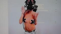 Gasmask erotic sexy gogo dancer Stock Footage