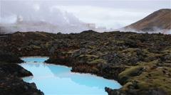 Geothermal factory waste pool, blue lagoon Iceland Stock Footage
