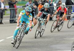 Pro Team Astana's cyclist Russian Evgeni Petrov Stock Photos