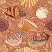 Seamless background, seashells Stock Illustration
