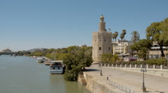 The golden tower and guadalquivir river Stock Footage