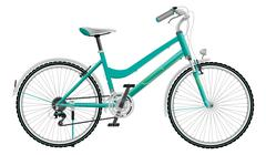 Ladies turquoise bike on a white background Stock Illustration