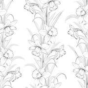 Spring flowers fabric seamless pattern - stock illustration
