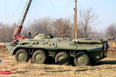 old soviet armored troop-carrier - stock photo