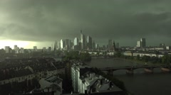 ULTRA HD 4K Aerial view panorama Frankfurt am Main cityscape dramatic dark sky  Stock Footage