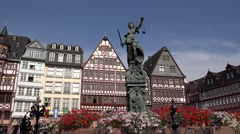ULTRA HD 4K Römer square Lady Justice statue medieval facade Frankfurt am Main  Stock Footage