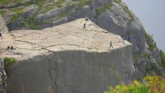 Pulpit Rock - Preikestolen, in Lysefjorden, Norway. Famous rock formation. Stock Footage