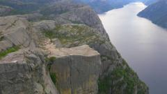 Pulpit Rock - Preikestolen, in Lysefjorden, Norway. Famous rock formation. - stock footage