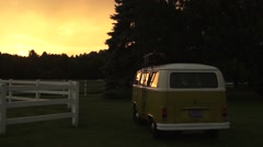 Farm VW Bus Sunset 3 Stock Footage
