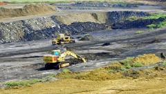 Open pit lignite coal mine panning shoot Stock Footage