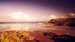 Polzeath beach cornwall england summer timelapse Stock Footage