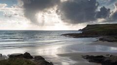 Polzeath cornwall coast beach timelapse england Stock Footage