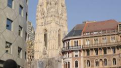 View of Vienna's cathedral Stephansdom from Graben street Stock Footage