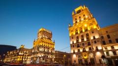 Buildings of City Gate in Minsk, Belarus - stock footage