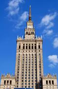 palace of culture and science. - stock photo