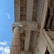 ionic column and ceiling acropolis - stock photo