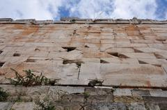 under the acropolis wall - stock photo