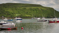 Portree isle of skye scotland harbour boats sailing Stock Footage
