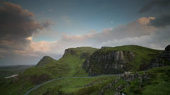 Quiraing isle of skye scotland timelapse sunset mountains Stock Footage