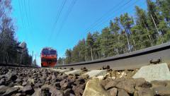 Suburban train of RZD (Russian railway).  With blurring logo. - stock footage