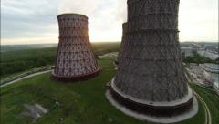Aerial Footage Wide Angle Nuclear Cooling Towers Against Sunrise Stock Footage