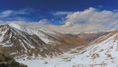 Mountain panorama from the pass Khardungla Stock Footage