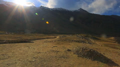 Intermountain panorama road from the pass Khardungla Stock Footage