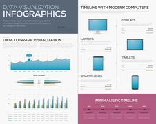 Data visualization infographics graphs, bars and laptop timeline Stock Illustration