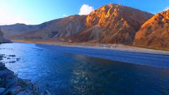 Panorama of Nubra river at sunset Stock Footage