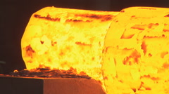 Metallurgy. The factory. Melting. Forming. Сlose up. Stock Footage